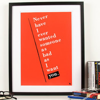 Red typography pop art poster print quote love Never by kyd13