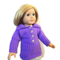 "Purple 18"" Inch Doll Tunic Dress Glitter Rhinestone Buttons"