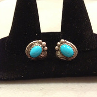 Navajo Turquoise Earrings Sterling Silver Studs 925 Blue Stone Leaves Leaf Vintage 60s Tribal Native American Zumi Hopi Southwestern Gift