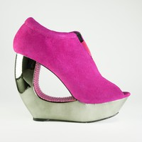 Terrari 'venezia-01' Hollywood Cerise suede with crystal covered cutout metallic wedge heels@ Ippolitan.com