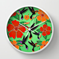 Hummingbird and Hibiscus Batik Pattern Wall Clock by Bluedarkat Lem