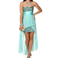 Tony- Mint Hi Lo Prom Dress