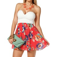 Coral Navy Floral Babydoll Dress