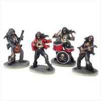 Gifts & Decor Macabre Musician Skeleton Skull Rock Band Figurine Set