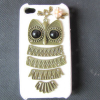 white case pink flower Antique Brass Cute Owl by sevenvsxiao