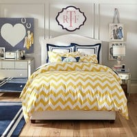 Chevron Duvet Cover + Sham, Yellow