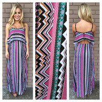 Pink & Brown Multi-Pattern Maxi Dress