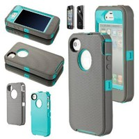 Body Armor Hybrid Hard Case Silicone Rubber Cover for Apple iPhone 4 4G 4S w/ Screen Protector (Gray / Teal)