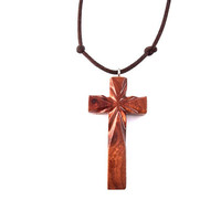 Wood Cross Necklace, Christian Jewelry, Wooden Cross Pendant, Hand Carved Cross, Wooden Jewelry, Wooden Cross Necklace, Carved Cross Pendant