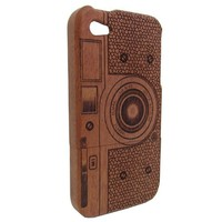 MagicPieces Handmade Natural Wooden Case with Engraving for iPhone 4/4S Camera