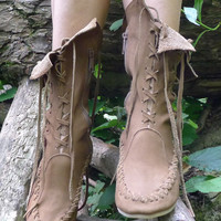 Khake beige Leather Ankle Boots