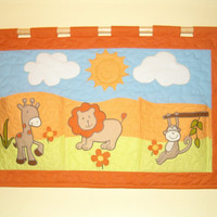 Kids Quilt, Bedroom Decor, Art Wall Hanging, Animals Quilt, Safari Childrens Decor - HET -