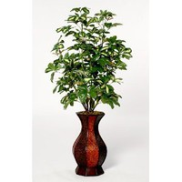 House of Silk Flowers Artificial Variegated Schefflera Floor Plant