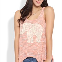 Racerback Sharkbite Tank Top with Crochet Lace Elephant