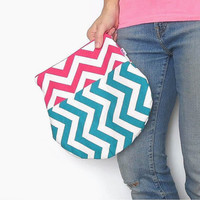 Color Block Chevron Clutch. Fold Over Pouch in bold Chevron Color Choices. Zipper Closure. Spring Fashion Summer Style Mothers Day Gift.