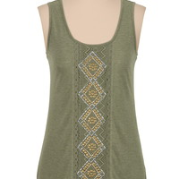 high-low stud embellished tank