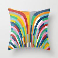 Rainbow Bricks Throw Pillow by Project M
