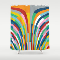 Rainbow Bricks Shower Curtain by Project M