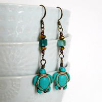 Turquoise Turtles - Turquoise, Glass and Copper Earrings - Summer Earrings - Vacation Earrings - Blue Earrings