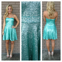 Mint Strapless Sequin Skater Dress