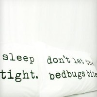 """Sleep Tight, Don't Let the Bedbugs Bite"" Pillowcases - Mustard Yellow"