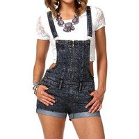 Dark Denim Zipper Front Overalls