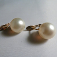 Vintage pearl earrings costume jewelry post clips 1960s or 1970s
