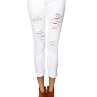 Papaya Clothing Online :: DESTROYED WHITE JEANS