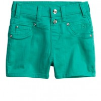 High-Waisted Colored Denim Shorts