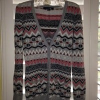 Forever 21 Gray, Pink, And Red Geometric Cardigan