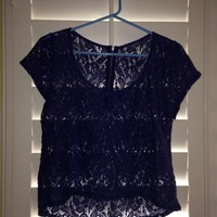 Dark Blue Lace Top