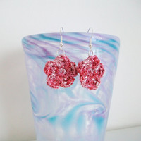 Pink Flower Dangle Earrings Sparkle Flower Earrings Crochet Flower Jewelry Boho Romantic Retro