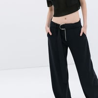 STUDIO TROUSERS WITH BUCKLED BELT