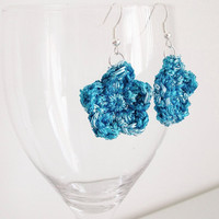 Blue Flower Dangle Earrings Crochet Flower Earrings Sparkly Retro Romantic Boho Style