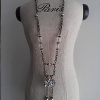Downton Abbey style antique gold, crystal, and pearl necklace by ABBG Designs on Etsy.