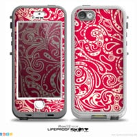 The Red Floral Paisley Pattern Skin for the iPhone 5-5s NUUD LifeProof Case for the LifeProof Skin