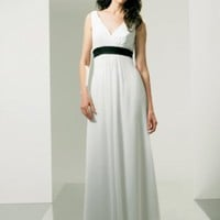 Long Formal White V Neck Designer Evening  Dress - Basadress.com