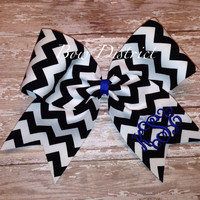 "3"" Black and White Chevron Cheer Bow with Monogram"