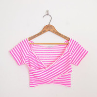 Crop Top Hot Pink Stripe Top 90s Stripe Shirt Stripe Blouse 90s Top 90s Shirt 90s Grunge Top Grunge Shirt Criss Cross Top XS Extra Small S