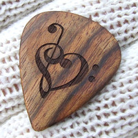 Treble & Bass Clef Heart - Handmade Custom Engraved Exotic Wood Guitar Pick