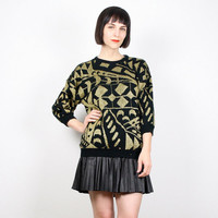 Vintage 80s Sweater Black Gold Jumper Metallic Knit Art Deco Abstract Print Geometric Knit Cosby Sweater Glam New Wave 1980s Mod M Medium