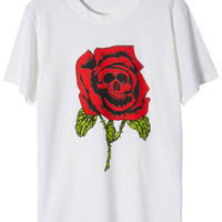 ROMWE Skull Rose Print Short-sleeved White T-shirt