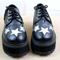90s Clubkid Silver Stars Faux Leather Chunky Lace Up Platform Shoes UK 5.5 / US 8 / EU 38.5