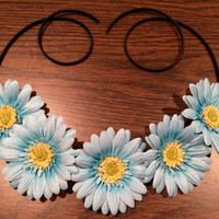 Light Blue Daisy Flower Headband, Flower Crown, Flower Halo, Festival Wear, EDC, Ultra Music Festival, Ezoo, Coachella