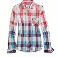 AE OMBRE PLAID GIRLFRIEND SHIRT