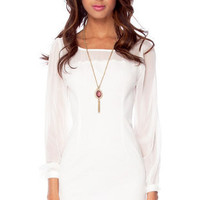 Kylie Contrast Shift Dress in White :: tobi