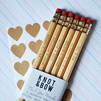 Me & You Pencils Gold Engraved Natural Wood by knotandbow on Etsy
