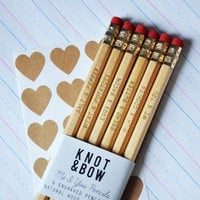 Me &amp; You Pencils Gold Engraved Natural Wood by knotandbow on Etsy