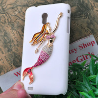 white cell phone protective case for Samsung S2 Epic Touch 4G sprint D710 with metal bling crystal mermaid / sea-maid