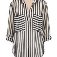 relaxed fit high-low striped chiffon top